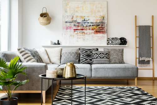Geometric shapes in soft furnishings